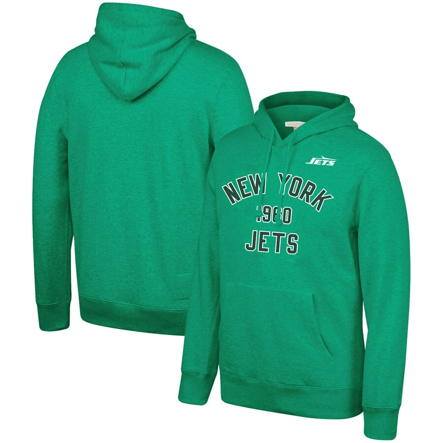 New York Jets Mitchell & Ness Team History Pullover Hoodie Green