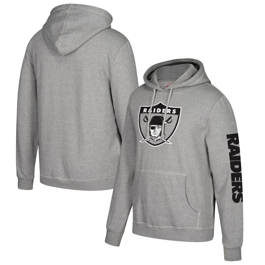 Oakland Raiders Mitchell & Ness Classic Team Pullover Hoodie Heathered Gray