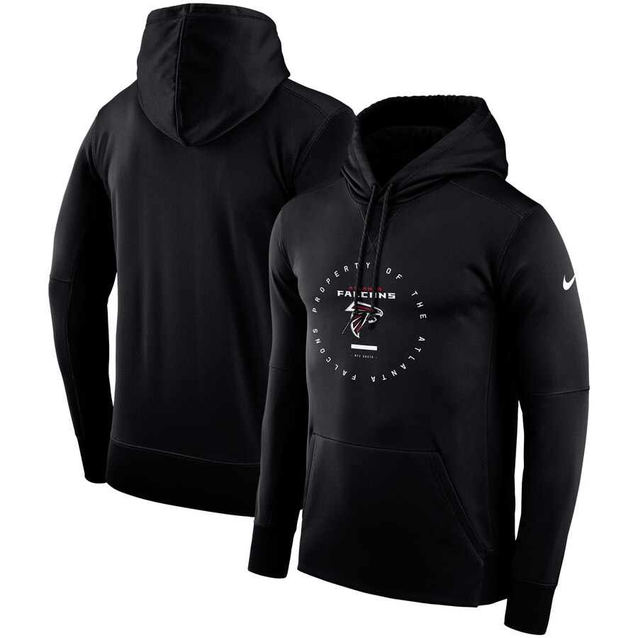 Atlanta Falcons Nike Sideline Property Of Wordmark Logo Performance Pullover Hoodie Black