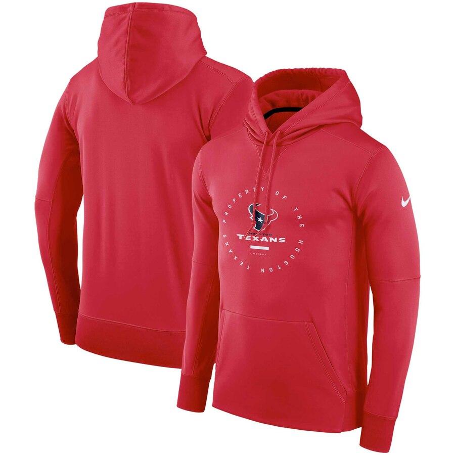 Houston Texans Nike Sideline Property Of Wordmark Logo Performance Pullover Hoodie Red