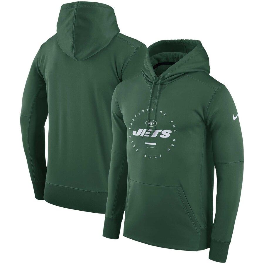 New York Jets Nike Sideline Property Of Wordmark Logo Performance Pullover Hoodie Green