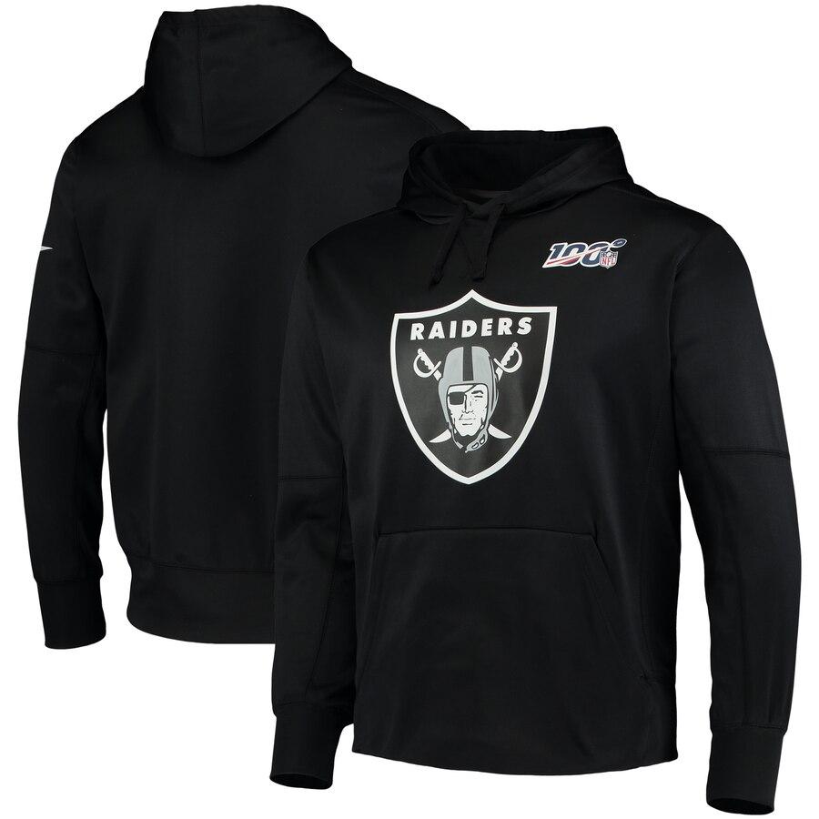 Oakland Raiders Nike 100th Season Primary Logo Circuit Performance Pullover Hoodie Black