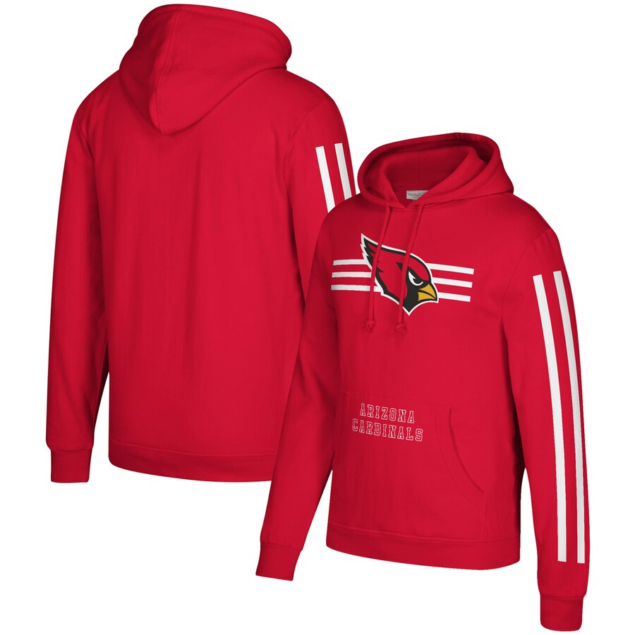 Arizona Cardinals Mitchell & Ness Three Stripe Pullover Hoodie Cardinal