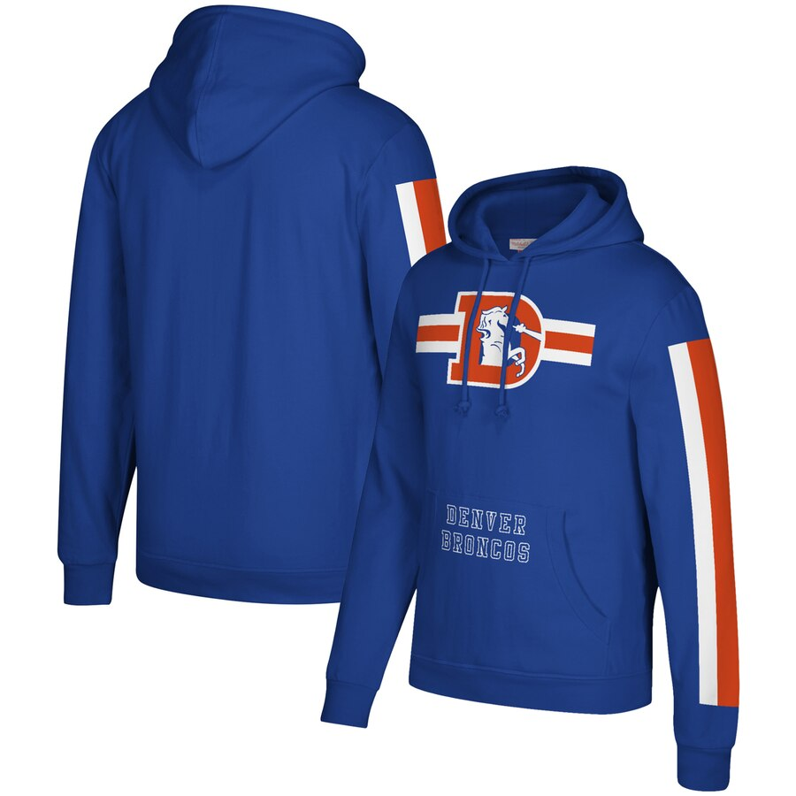 Denver Broncos Mitchell & Ness Three Stripe Pullover Hoodie Royal
