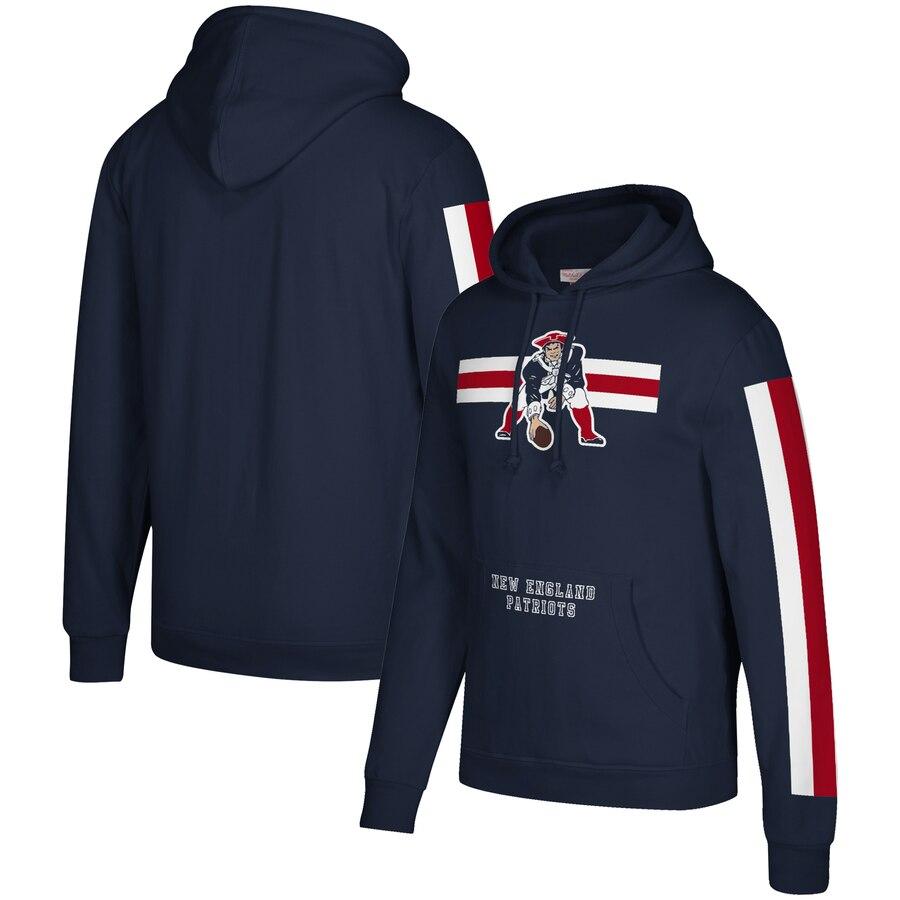 New England Patriots Mitchell & Ness Three Stripe Pullover Hoodie Royal