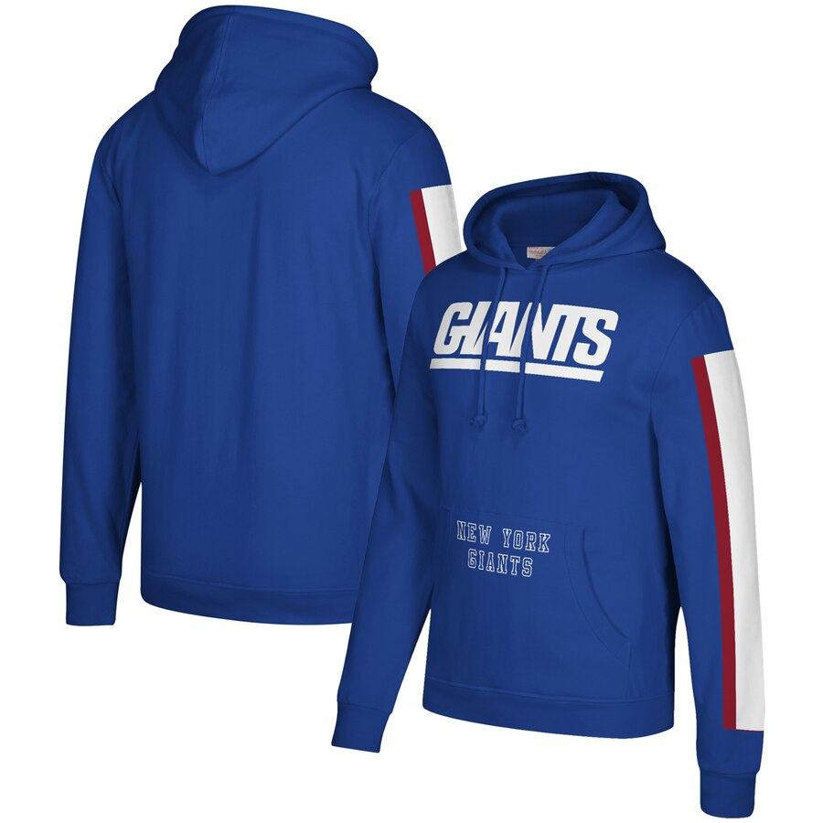 New York Giants Mitchell & Ness Three Stripe Pullover Hoodie Royal