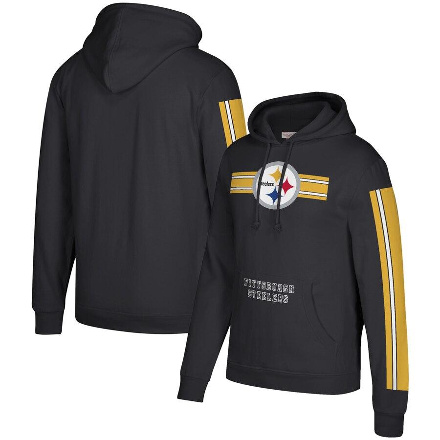 Pittsburgh Steelers Mitchell & Ness Three Stripe Pullover Hoodie Black