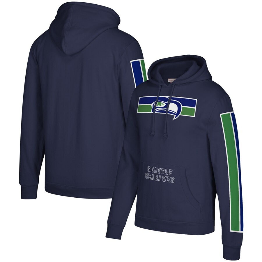 Seattle Seahawks Mitchell & Ness Three Stripe Pullover Hoodie College Navy