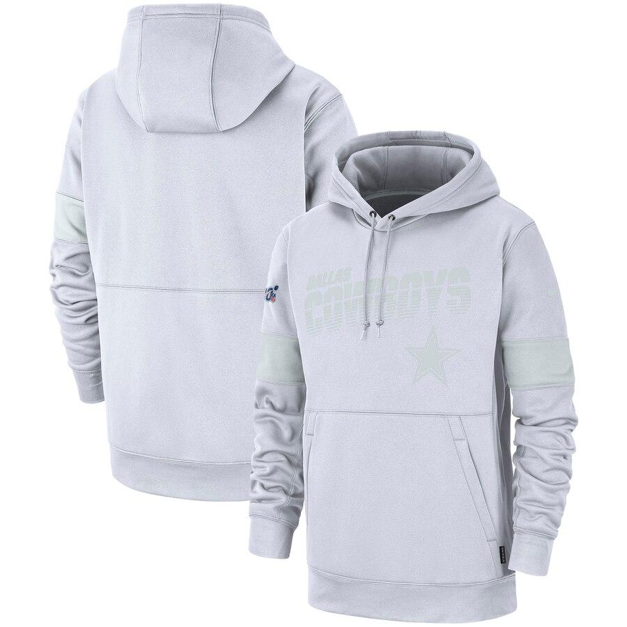Dallas Cowboys Nike NFL 100 2019 Sideline Platinum Therma Pullover Hoodie White