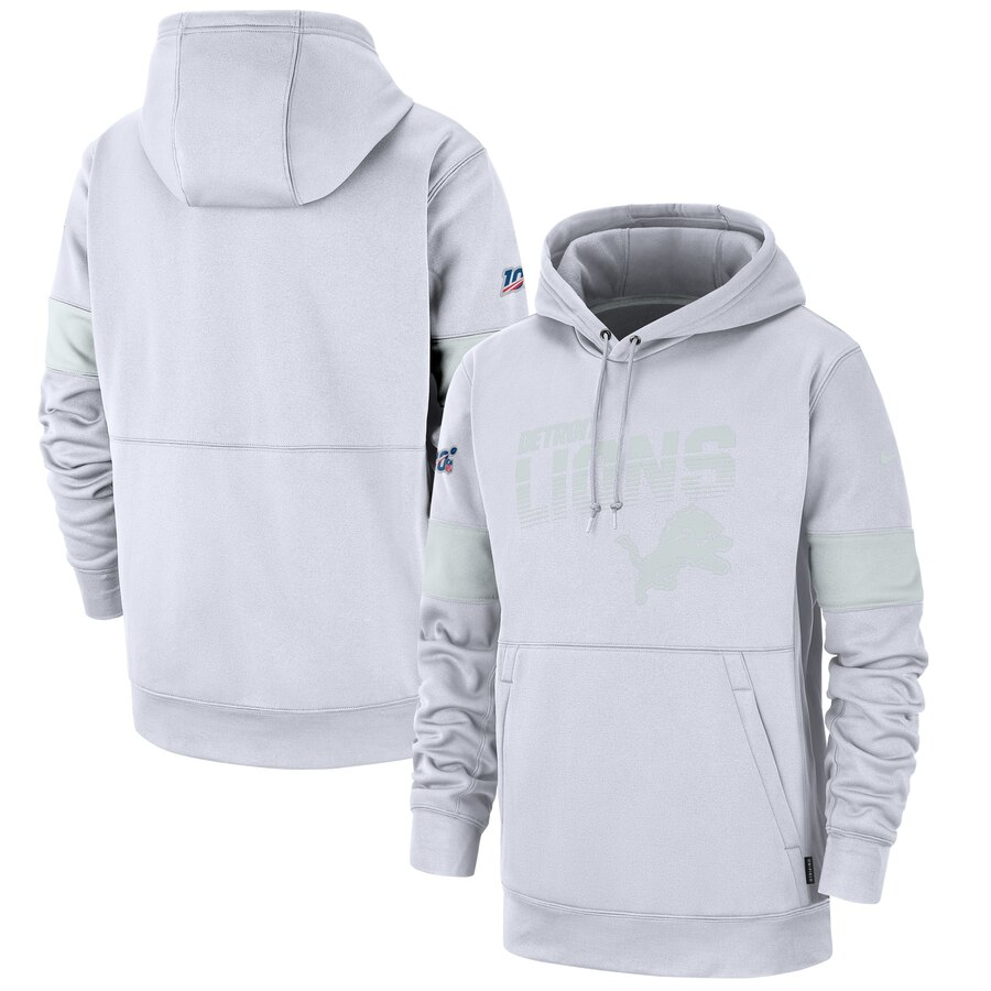 Detroit Lions Nike NFL 100 2019 Sideline Platinum Therma Pullover Hoodie White
