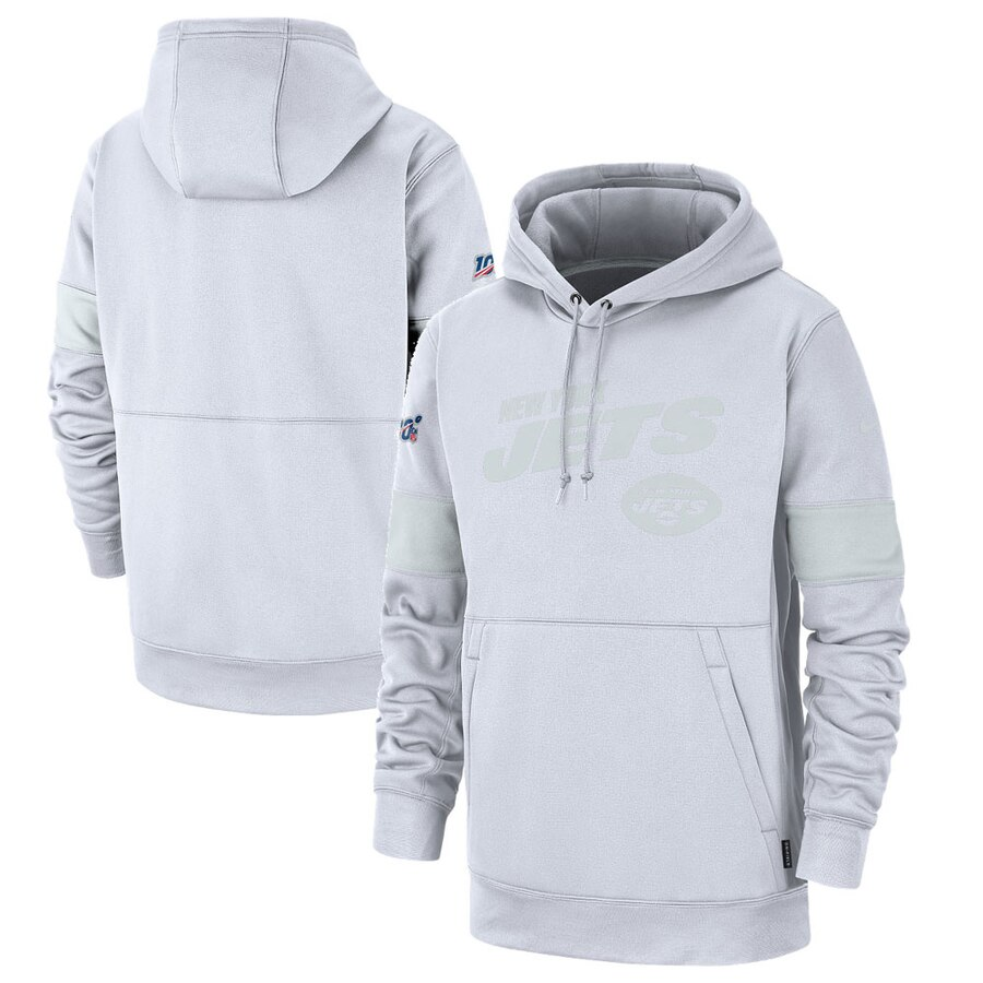 New York Jets Nike NFL 100 2019 Sideline Platinum Therma Pullover Hoodie White