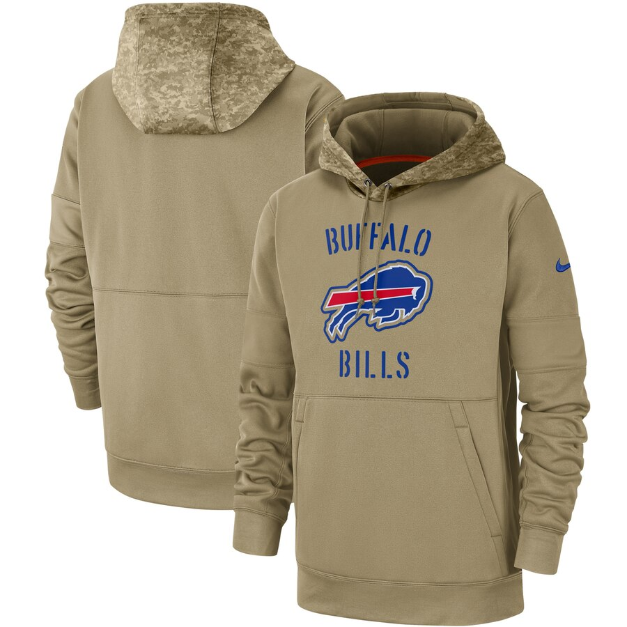 Men's Buffalo Bills Nike Tan 2019 Salute to Service Sideline Therma Pullover Hoodie