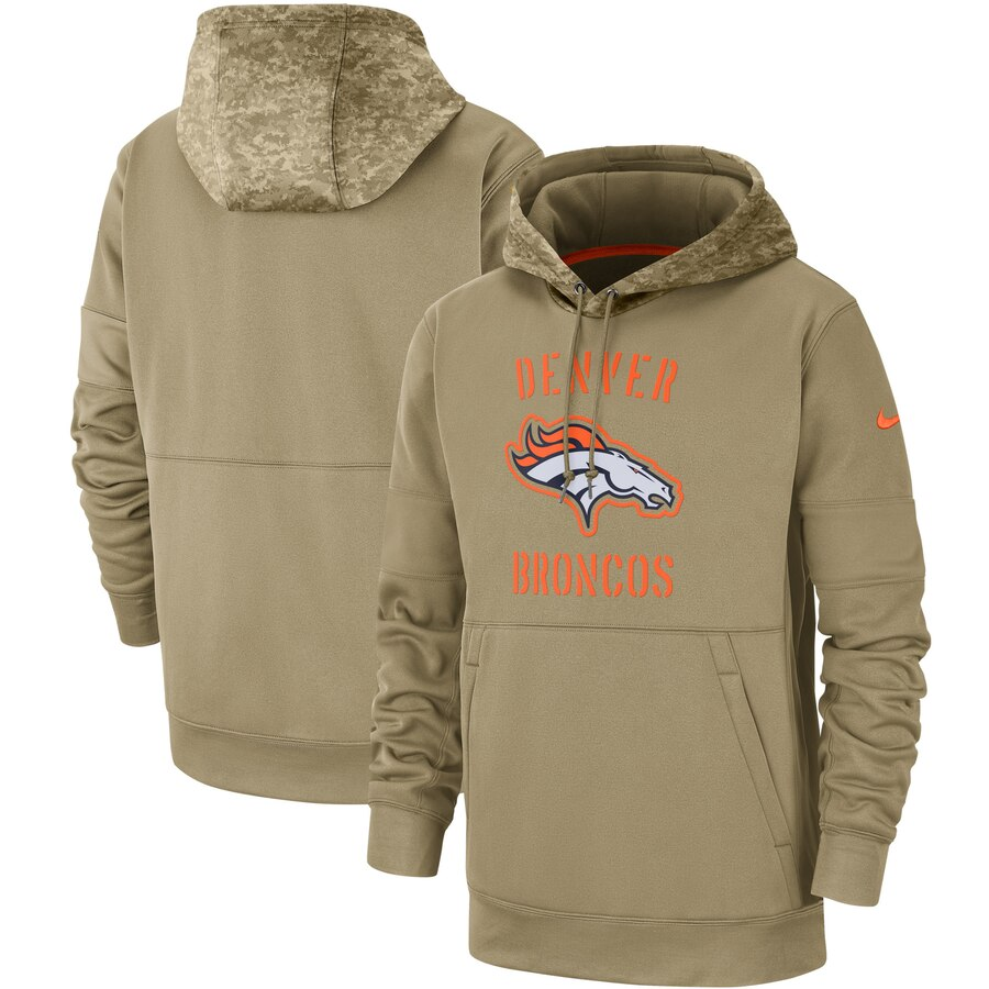 Men's Denver Broncos Nike Tan 2019 Salute to Service Sideline Therma Pullover Hoodie