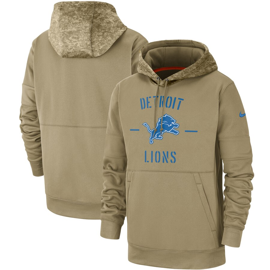 Men's Detroit Lions Nike Tan 2019 Salute to Service Sideline Therma Pullover Hoodie