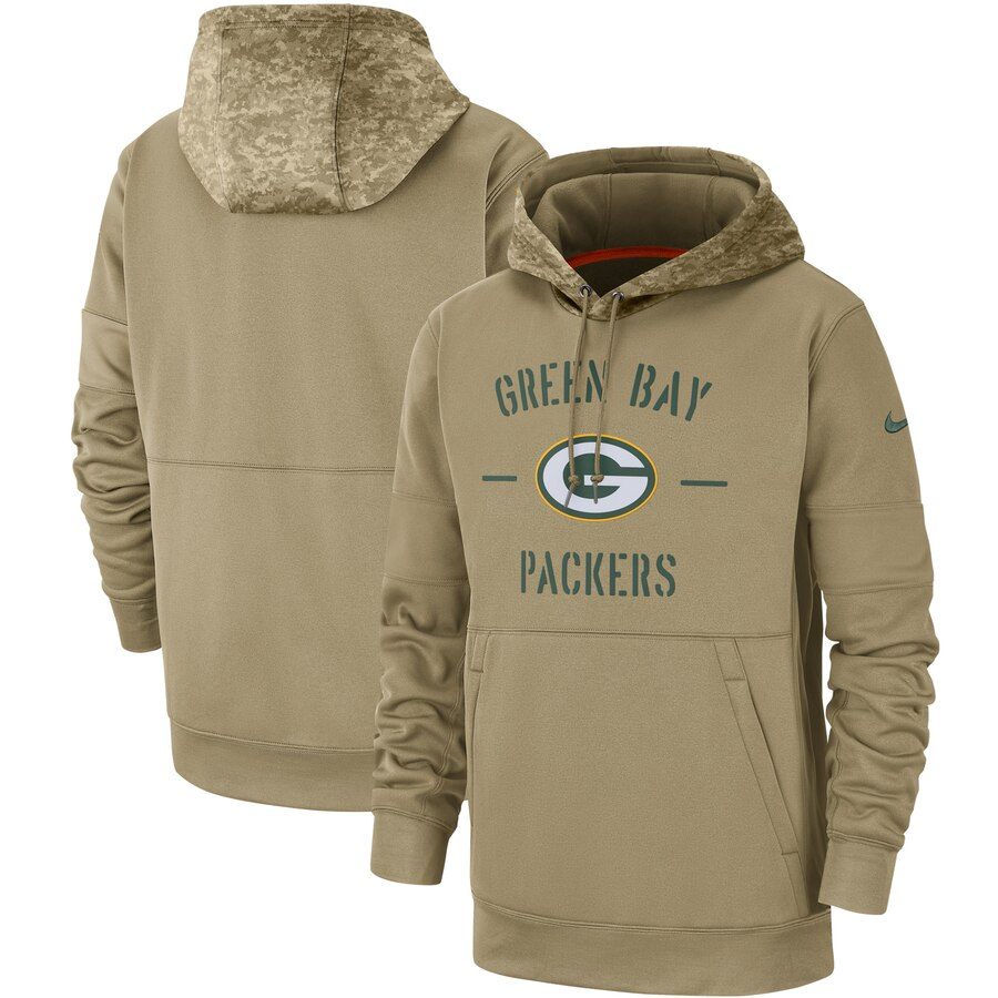Men's Green Bay Packers Nike Tan 2019 Salute to Service Sideline Therma Pullover Hoodie