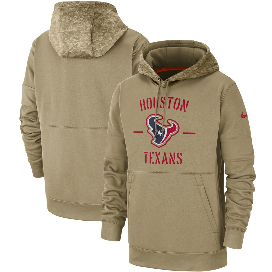 Men's Houston Texans Nike Tan 2019 Salute to Service Sideline Therma Pullover Hoodie