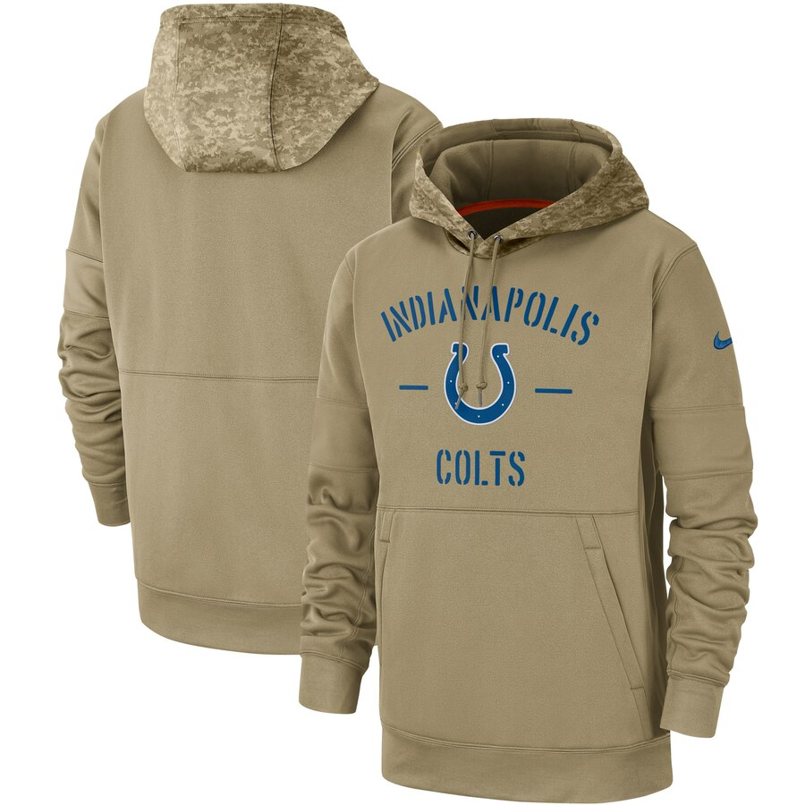 Men's Indianapolis Colts Nike Tan 2019 Salute to Service Sideline Therma Pullover Hoodie