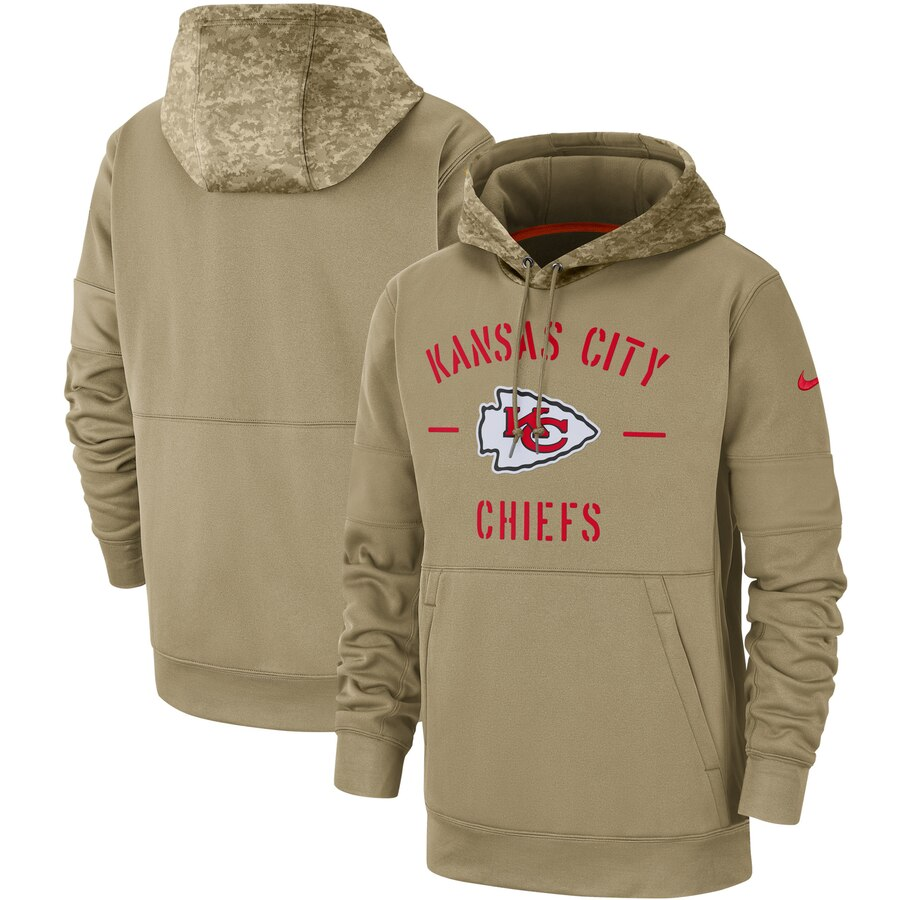 Men's Kansas City Chiefs Nike Tan 2019 Salute to Service Sideline Therma Pullover Hoodie