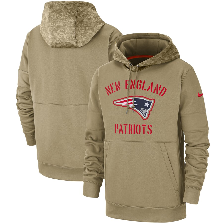 Men's New England Patriots Nike Tan 2019 Salute to Service Sideline Therma Pullover Hoodie