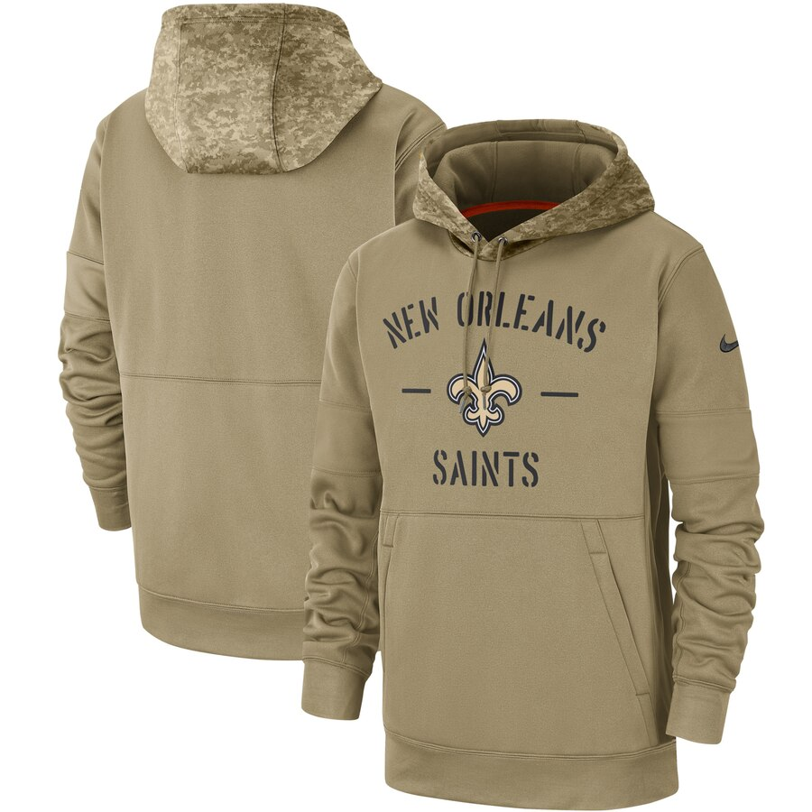 Men's New Orleans Saints Nike Tan 2019 Salute to Service Sideline Therma Pullover Hoodie