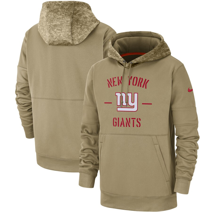 Men's New York Giants Nike Tan 2019 Salute to Service Sideline Therma Pullover Hoodie