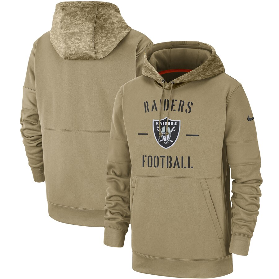 Men's Oakland Raiders Nike Tan 2019 Salute to Service Sideline Therma Pullover Hoodie