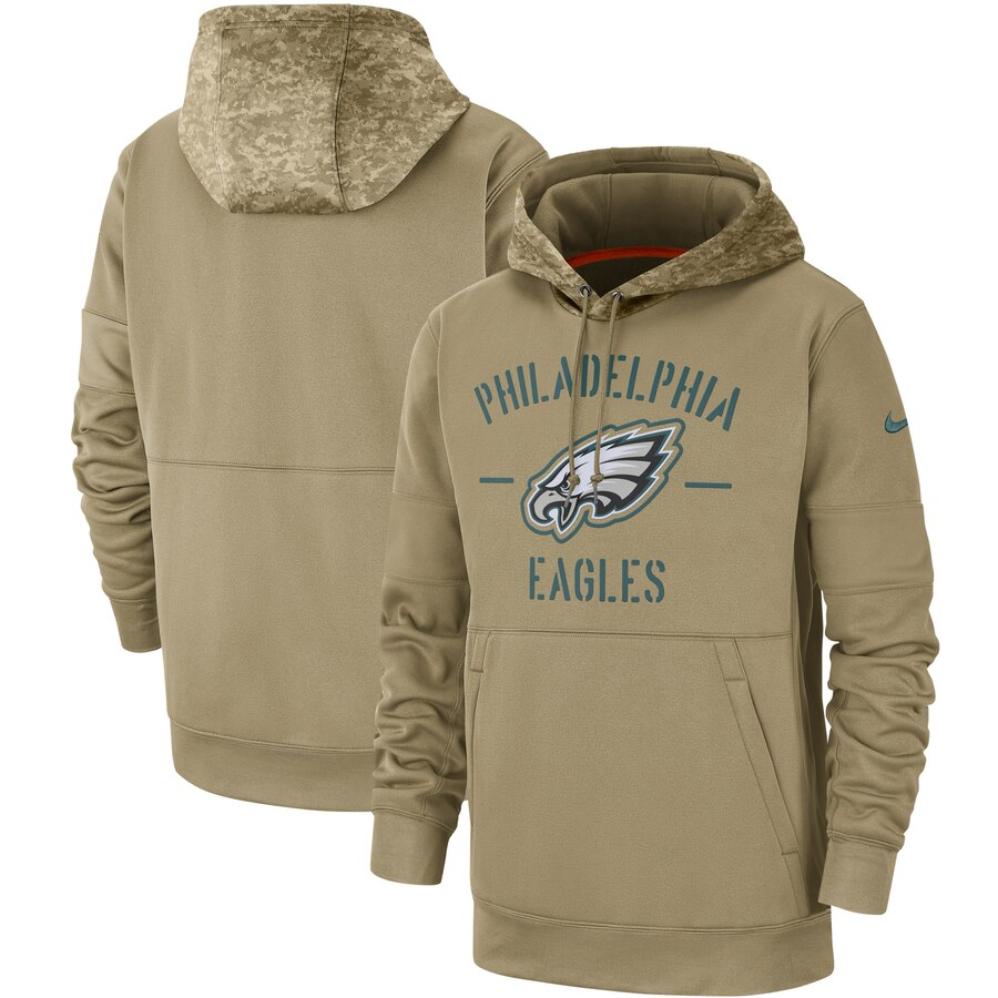 Men's Philadelphia Eagles Nike Tan 2019 Salute to Service Sideline Therma Pullover Hoodie