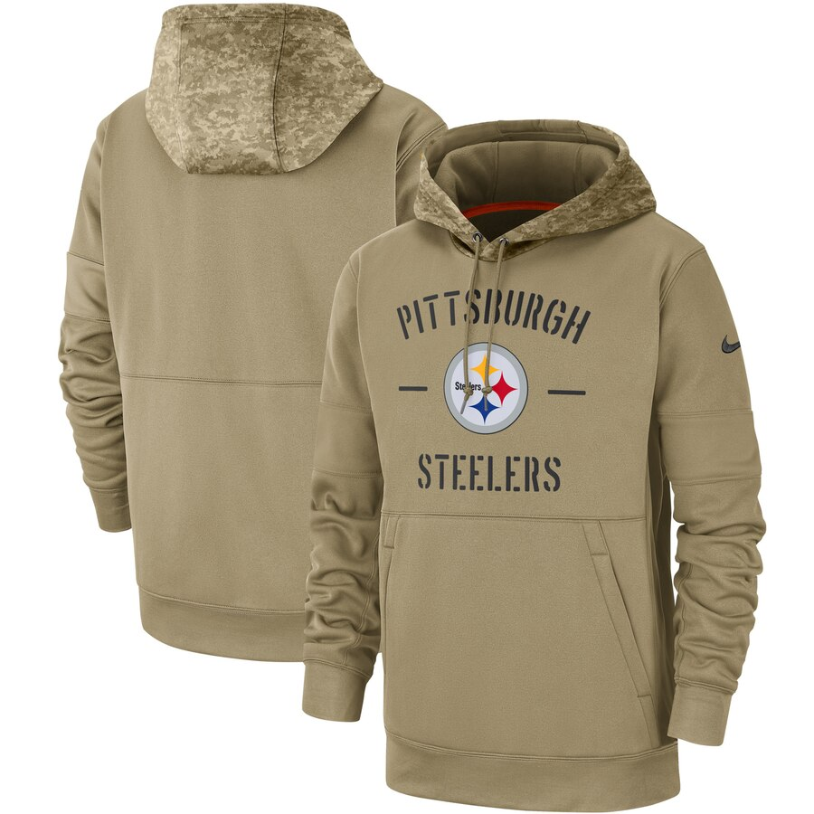 Men's Pittsburgh Steelers Nike Tan 2019 Salute to Service Sideline Therma Pullover Hoodie