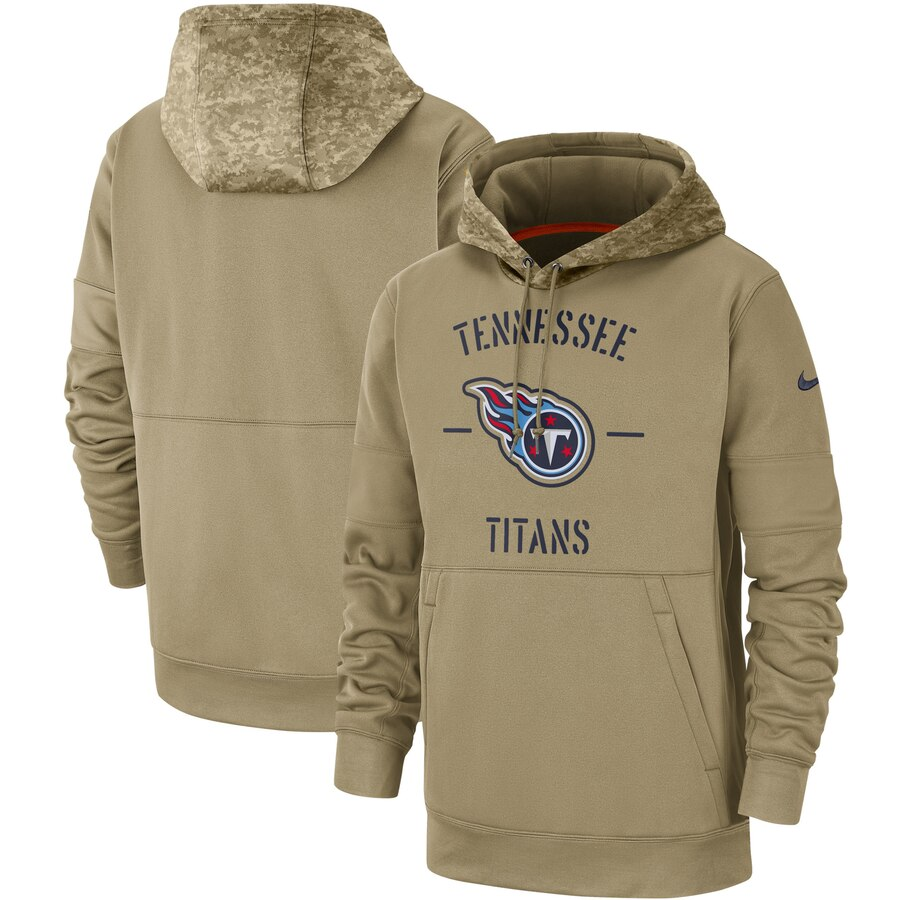 Men's Tennessee Titans Nike Tan 2019 Salute to Service Sideline Therma Pullover Hoodie