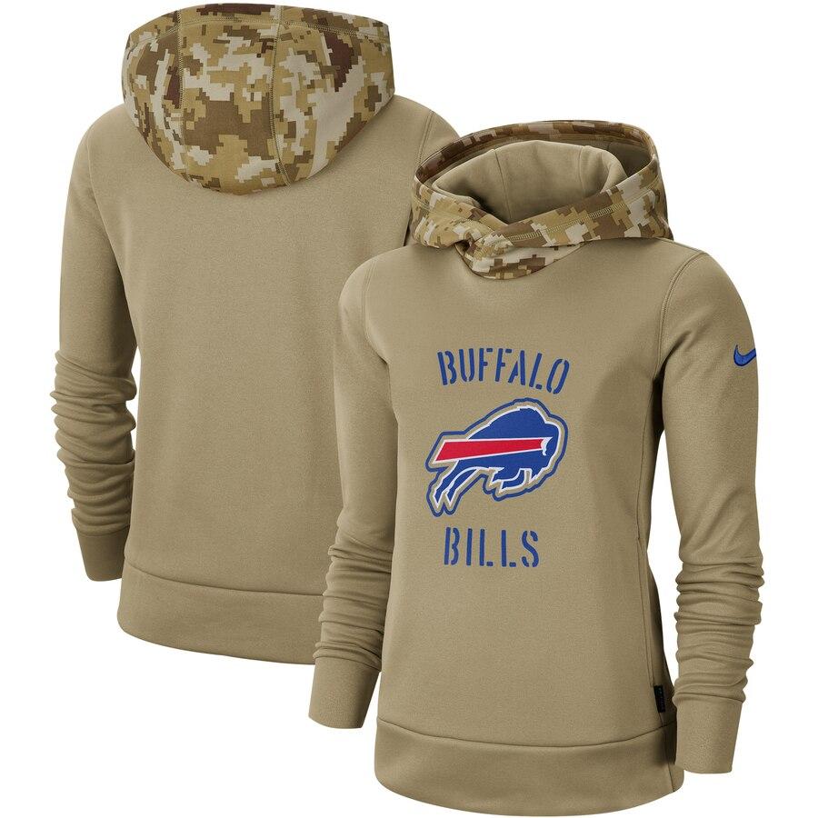 Women's Buffalo Bills Nike Khaki 2019 Salute to Service Therma Pullover Hoodie
