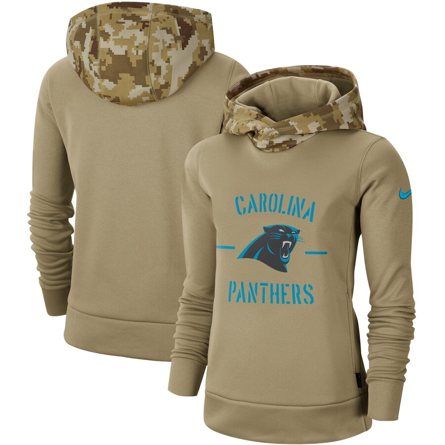 Women's Carolina Panthers Nike Khaki 2019 Salute to Service Therma Pullover Hoodie