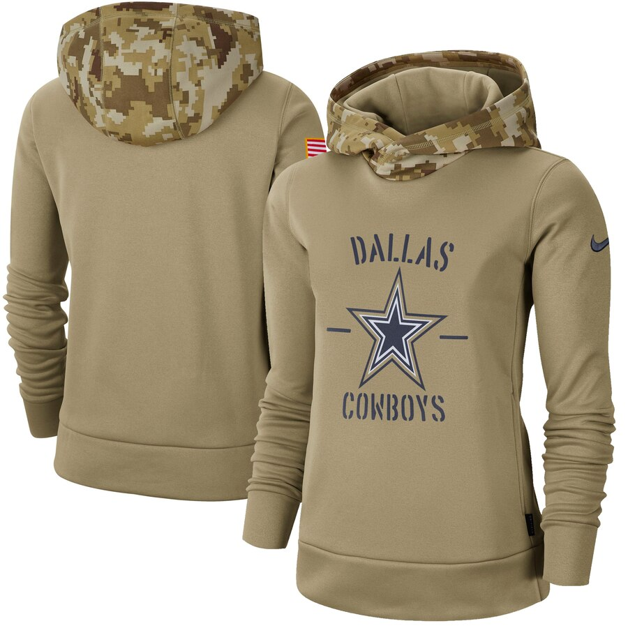 Women's Dallas Cowboys Nike Khaki 2019 Salute to Service Therma Pullover Hoodie