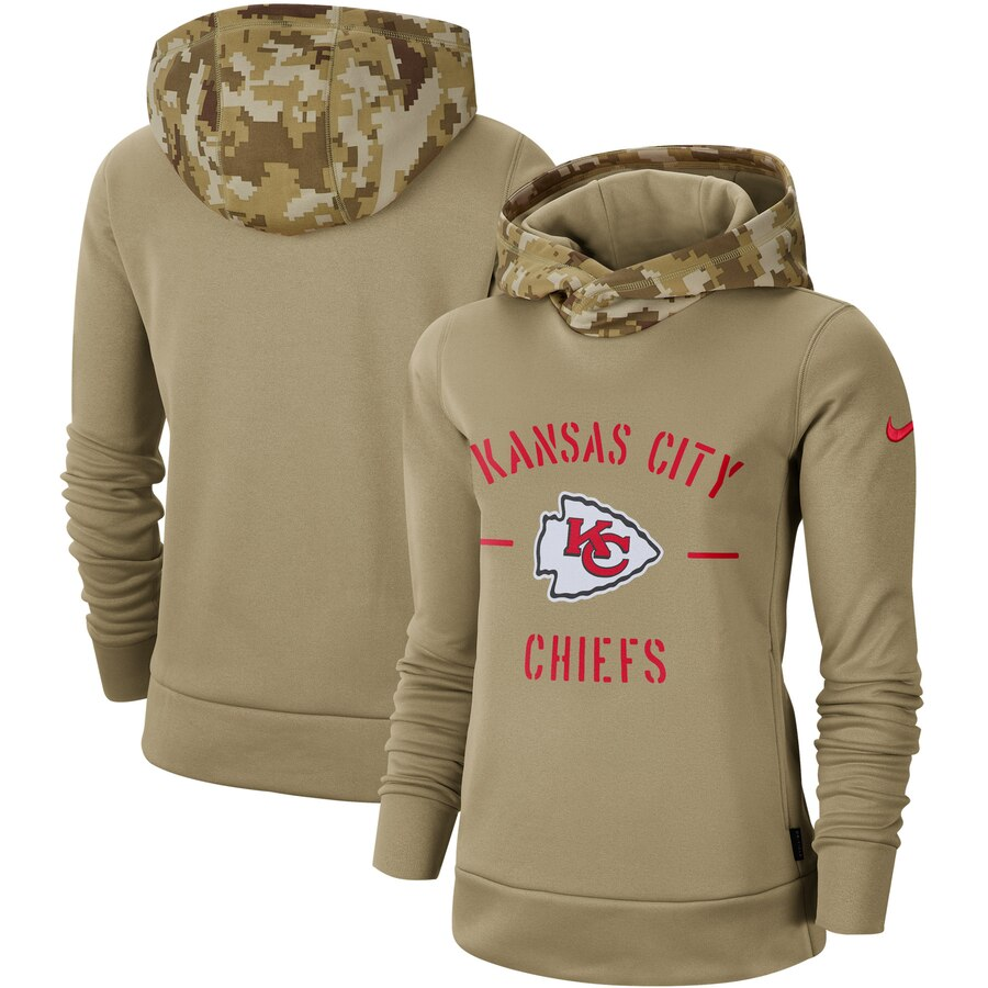 Women's Kansas City Chiefs Nike Khaki 2019 Salute to Service Therma Pullover Hoodie