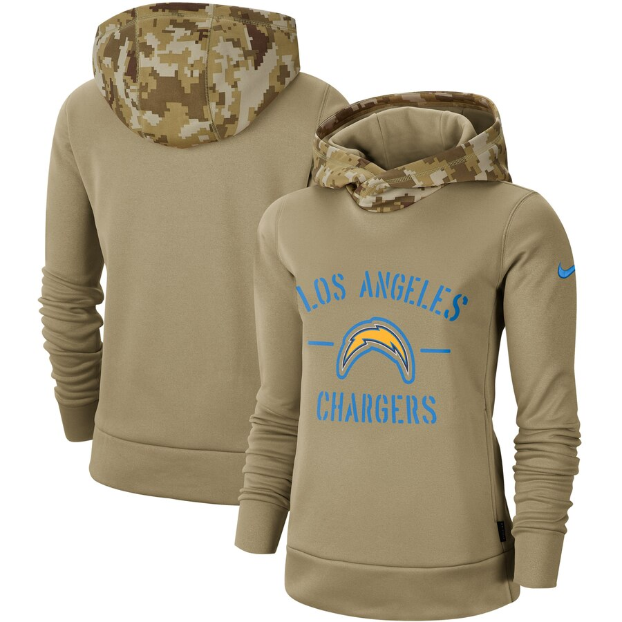 Women's Los Angeles Chargers Nike Khaki 2019 Salute to Service Therma Pullover Hoodie