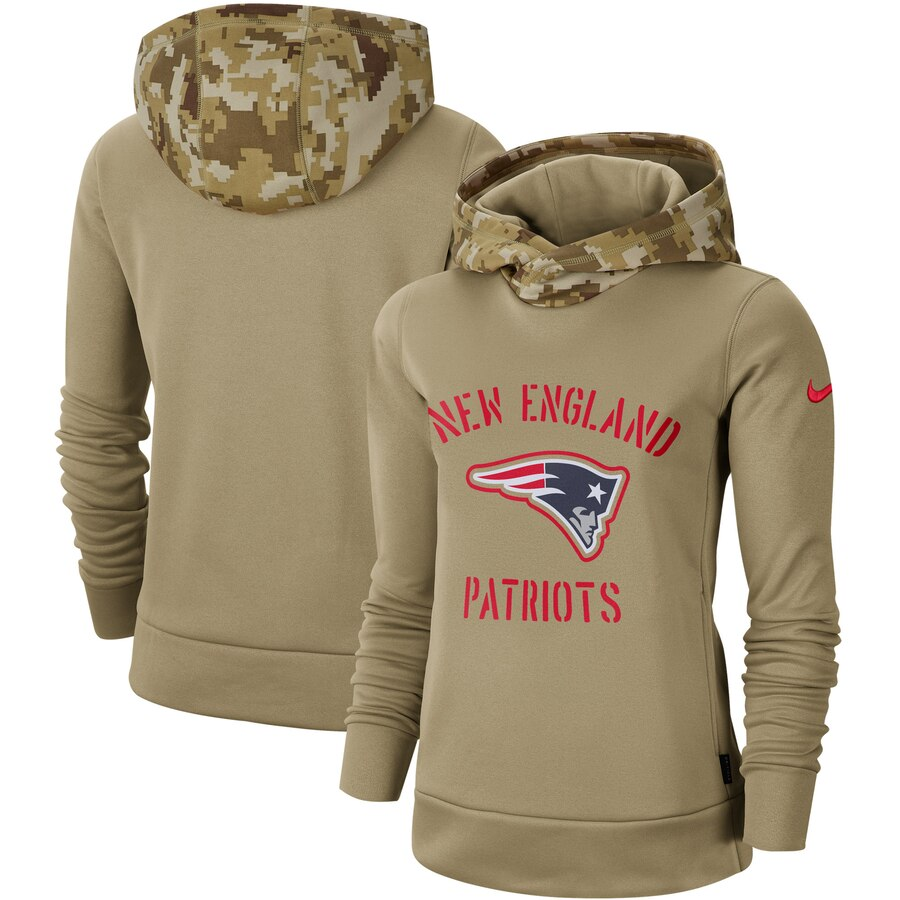Women's New England Patriots Nike Khaki 2019 Salute to Service Therma Pullover Hoodie