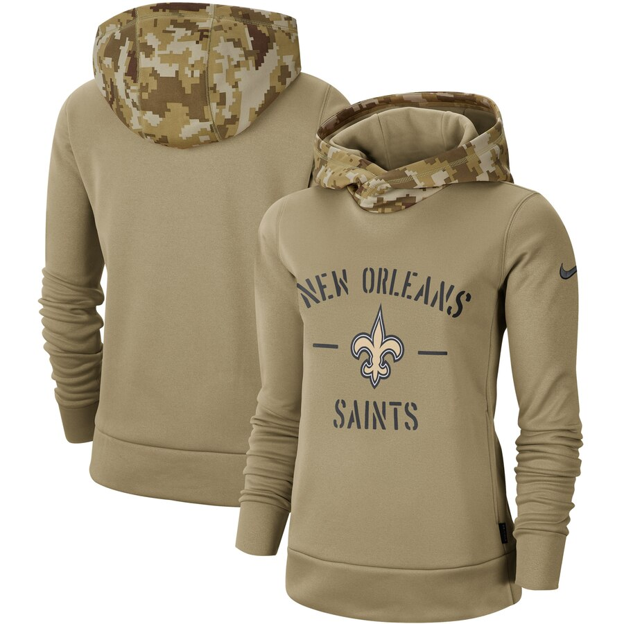 Women's New Orleans Saints Nike Khaki 2019 Salute to Service Therma Pullover Hoodie