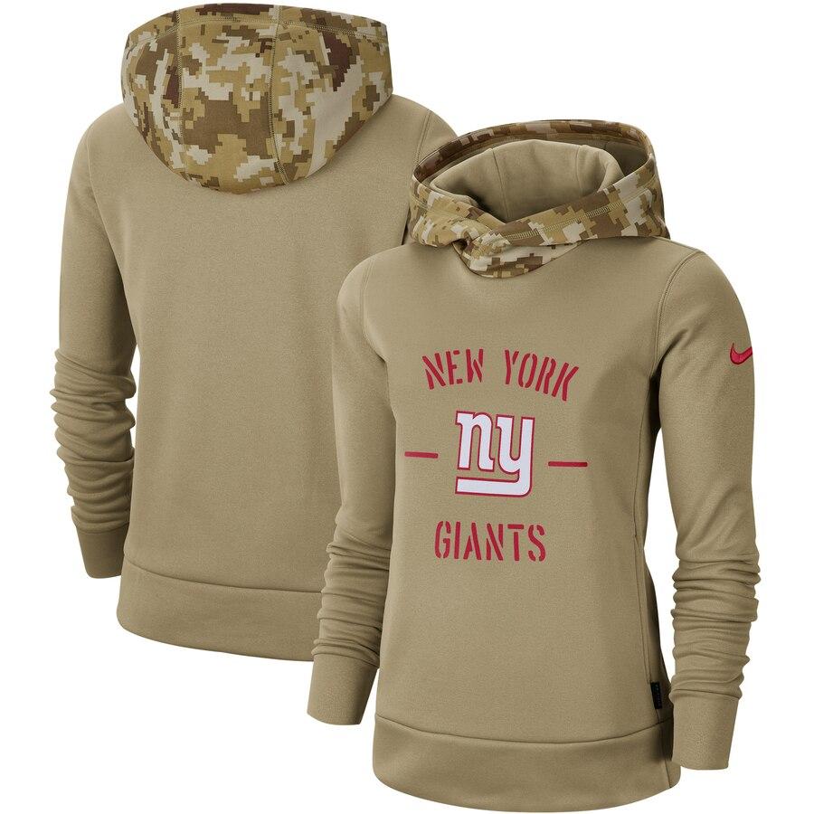 Women's New York Giants Nike Khaki 2019 Salute to Service Therma Pullover Hoodie