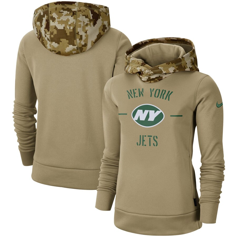 Women's New York Jets Nike Khaki 2019 Salute to Service Therma Pullover Hoodie