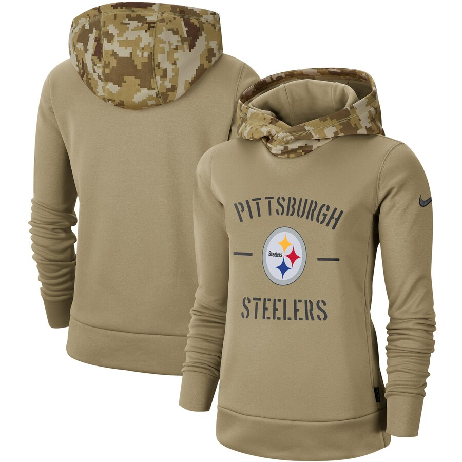 Women's Pittsburgh Steelers Nike Khaki 2019 Salute to Service Therma Pullover Hoodie