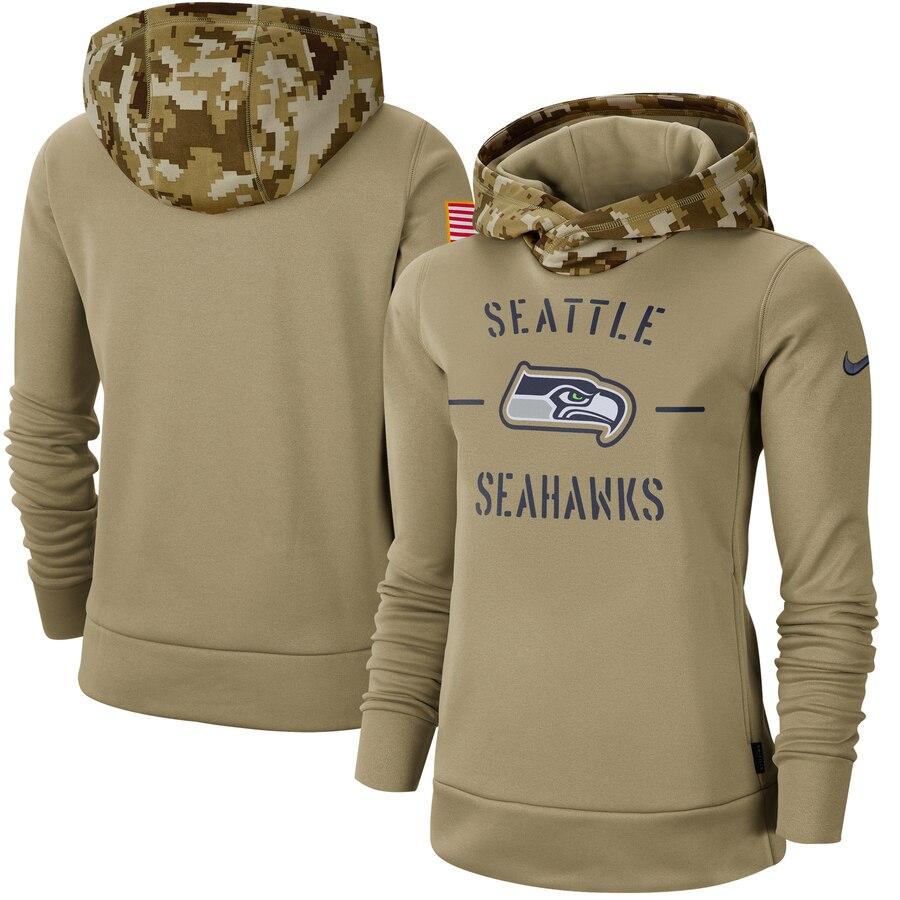 Women's Seattle Seahawks Nike Khaki 2019 Salute to Service Therma Pullover Hoodie