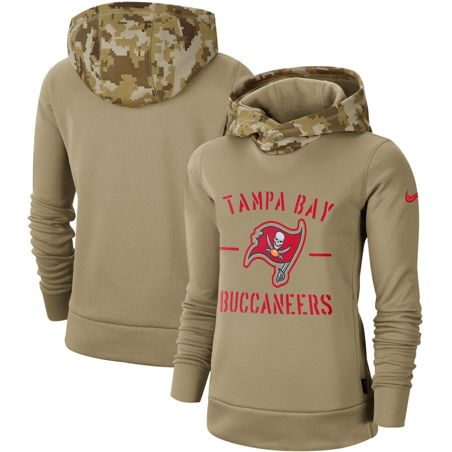 Women's Tampa Bay Buccaneers Nike Khaki 2019 Salute to Service Therma Pullover Hoodie