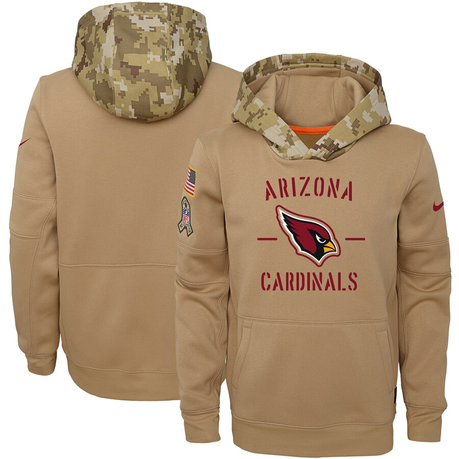 Youth Arizona Cardinals Nike Khaki 2019 Salute to Service Therma Pullover Hoodie