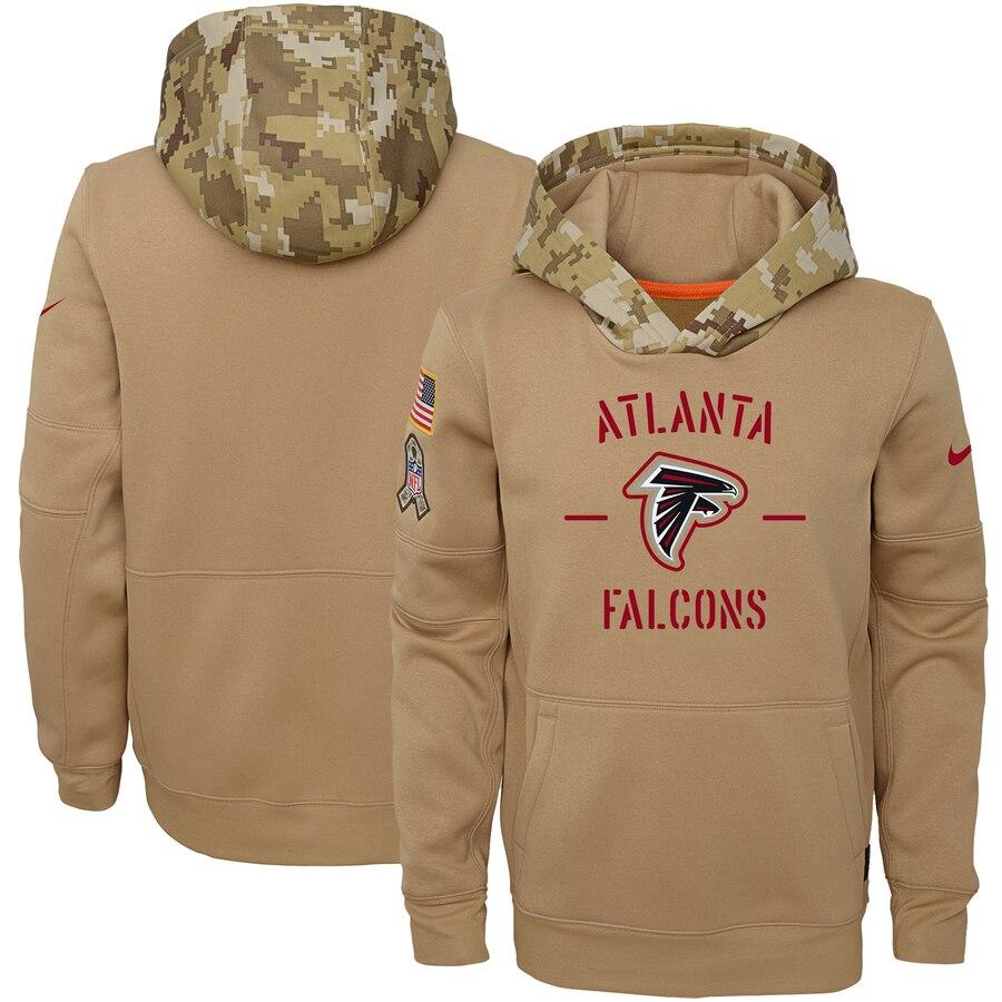 Youth Atlanta Falcons Nike Khaki 2019 Salute to Service Therma Pullover Hoodie