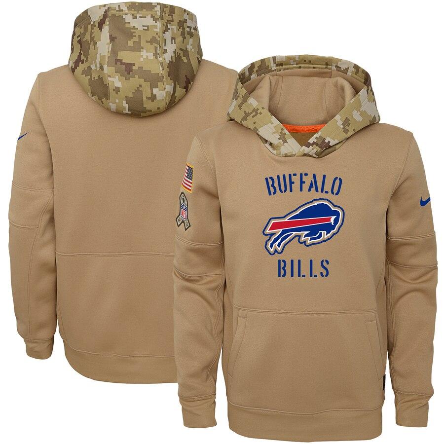 Youth Buffalo Bills Nike Khaki 2019 Salute to Service Therma Pullover Hoodie