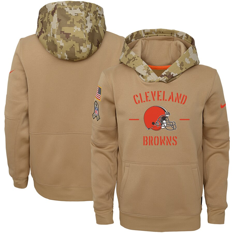 Youth Cleveland Browns Nike Khaki 2019 Salute to Service Therma Pullover Hoodie