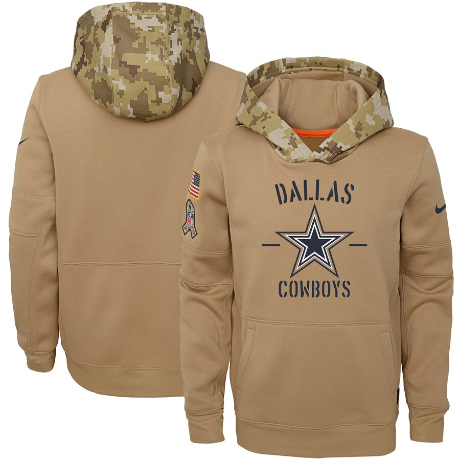 Youth Dallas Cowboys Nike Khaki 2019 Salute to Service Therma Pullover Hoodie