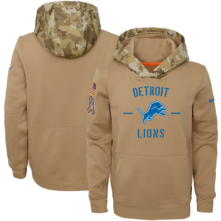 Youth Detroit Lions Nike Khaki 2019 Salute to Service Therma Pullover Hoodie