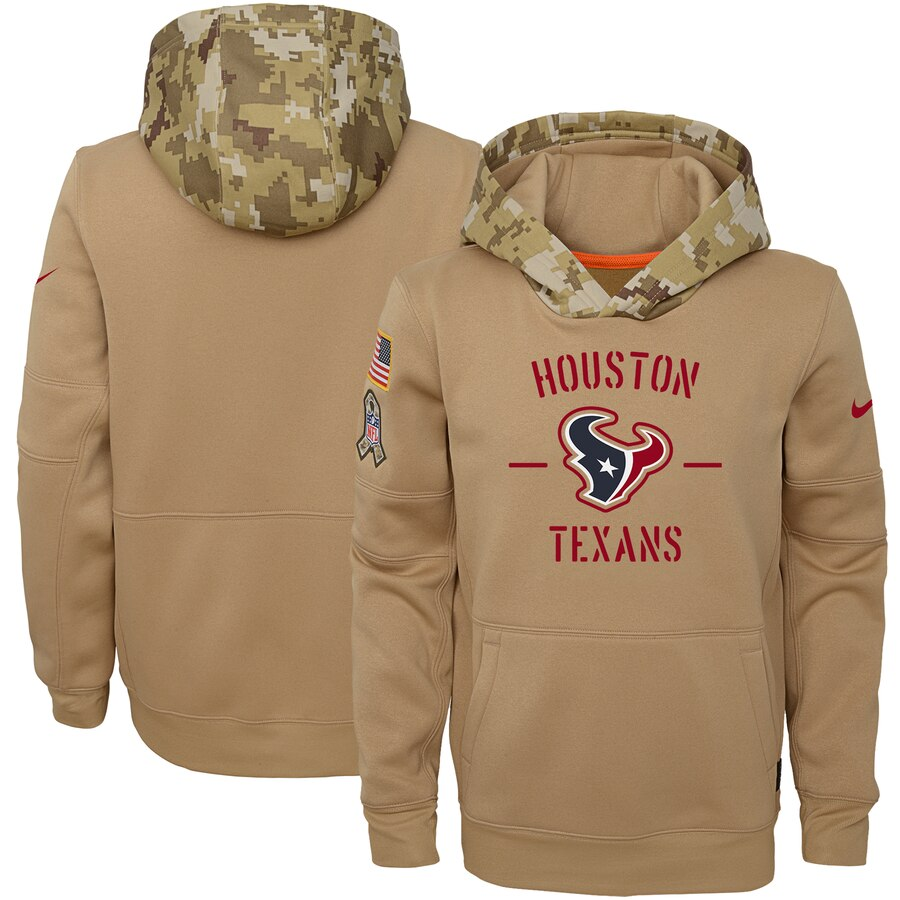 Youth Houston Texans Nike Khaki 2019 Salute to Service Therma Pullover Hoodie