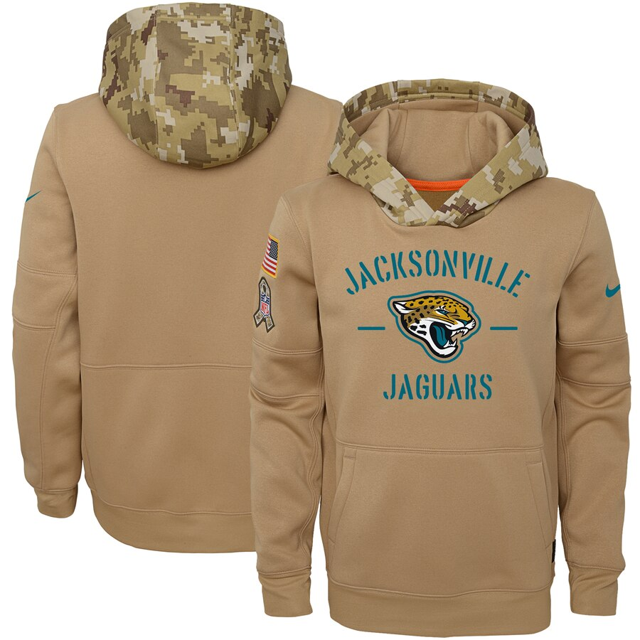 Youth Jacksonville Jaguars Nike Khaki 2019 Salute to Service Therma Pullover Hoodie
