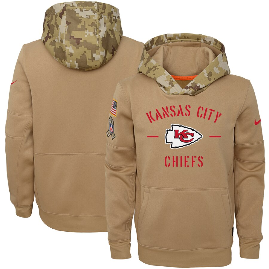 Youth Kansas City Chiefs Nike Khaki 2019 Salute to Service Therma Pullover Hoodie